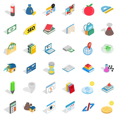 Chemistry in school icons set, isometric style
