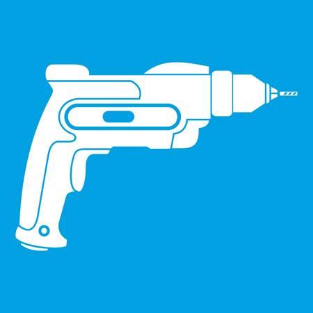 drill: Hand drill icon white
