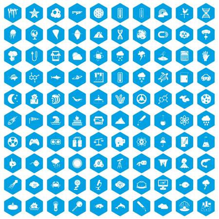 flooding: 100 research icons set blue Illustration