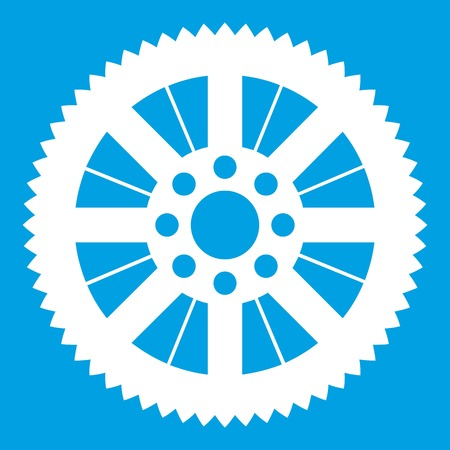 Sprocket from bike icon white isolated on blue background vector illustration Illustration