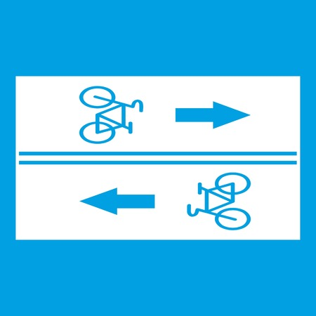racing sign: Road for cyclists icon white isolated on blue background vector illustration Illustration