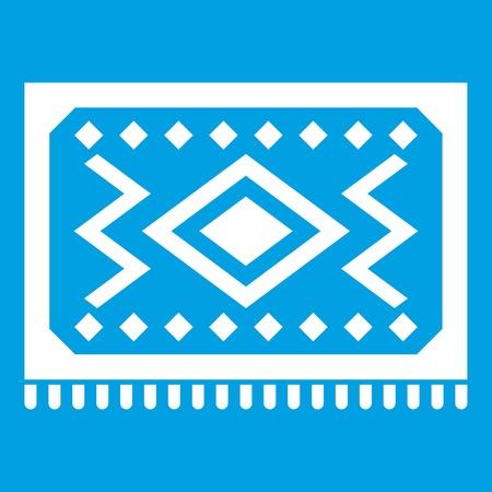 oriental rug: Turkish carpet icon white isolated on blue background vector illustration