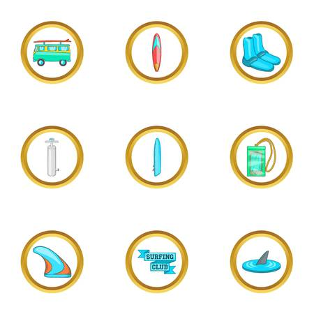 short trip: Surfing equipment icons set. Cartoon set of 9 surfing equipment vector icons for web isolated on white background Illustration