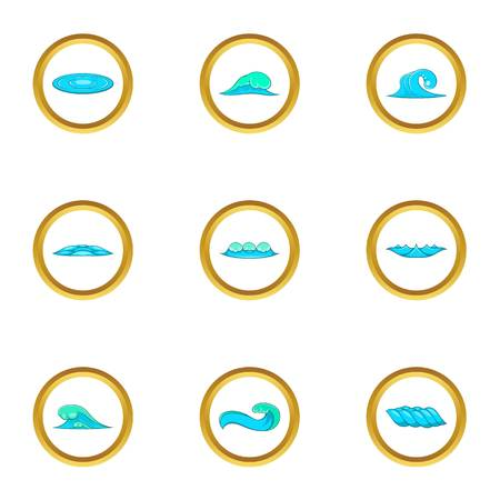 Different waves icons set. Cartoon set of 9 different waves vector icons for web isolated on white background 向量圖像