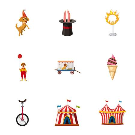 Circus festival icons set. Cartoon set of 9 circus festival vector icons for web isolated on white background