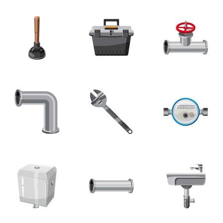 Plumbing emergency icons set. Cartoon set of 9 plumbing emergency vector icons for web isolated on white background
