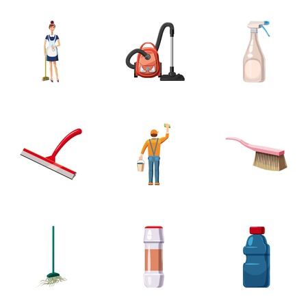 Cleaning company icons set. Cartoon set of 9 cleaning company vector icons for web isolated on white background Illustration