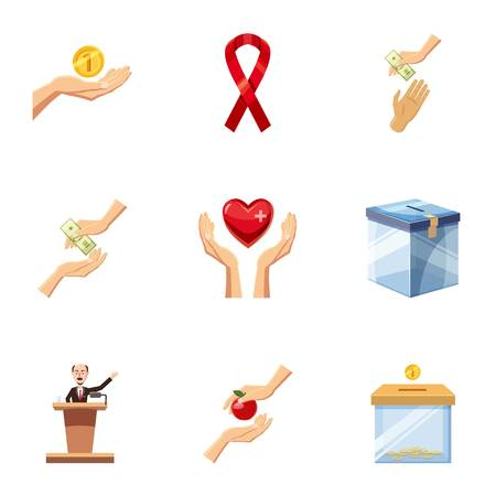 Charity event icons set. Cartoon set of 9 charity event vector icons for web isolated on white background