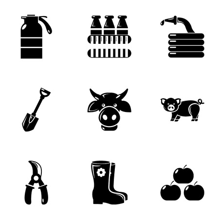 plow: Farming icons set, simple style