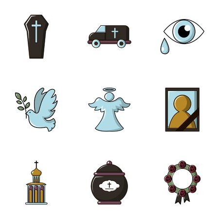 black family: Funeral shipping icons set, flat style