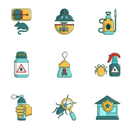 Exterminators of insects icons set, cartoon style