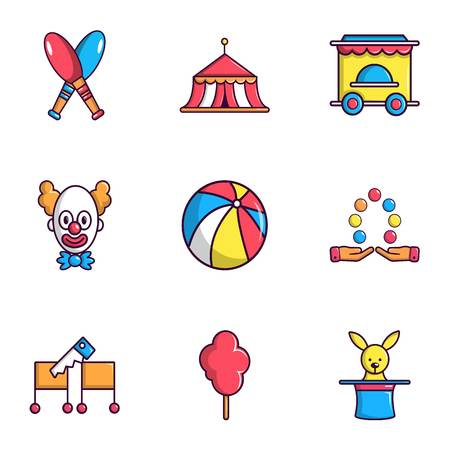 exciting: Clown show on birthday icons set, flat style