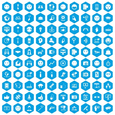 100 social media icons set blue