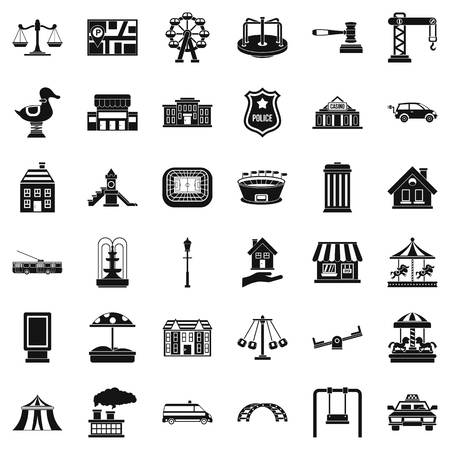 street lamp: City architecture icons set, simple style