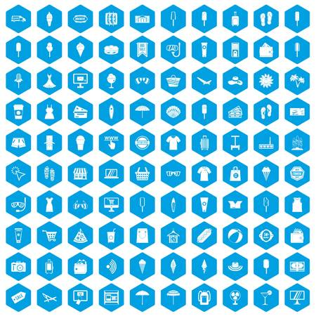 100 summer shopping icons set blue