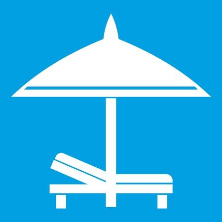 White bench and umbrella icon