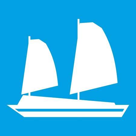 White Vietnamese junk boat icon Illustration