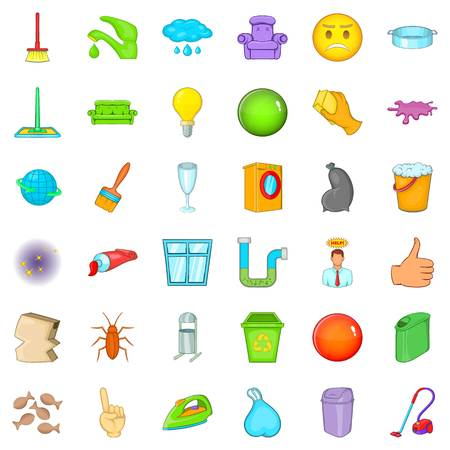 general: General cleaning icons set, cartoon style
