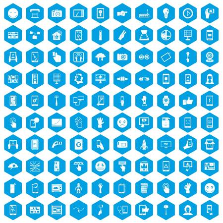 touch screen phone: 100 touch screen icons set blue Illustration