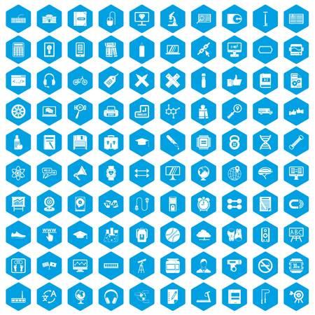 100 training icons set blue illustration. Illustration