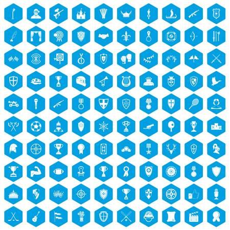 100 trophy and awards icons set blue illustration. Illustration