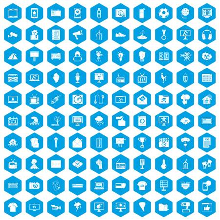 poppers: 100 TV icons set blue illustration. Illustration