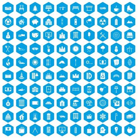 100 villa icons set blue