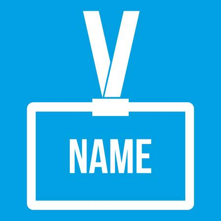 conventions: Plastic Name badge with neck strap white icon