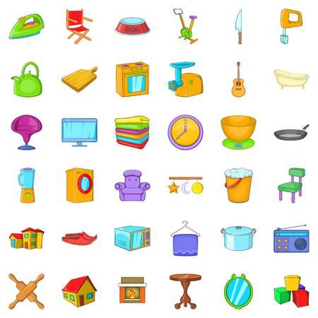 Home icons set, cartoon style Illustration