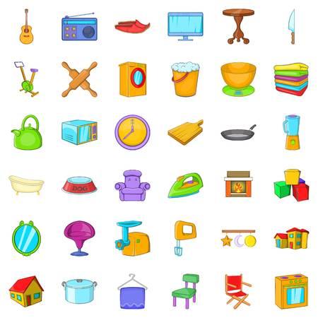 Good house icons set, cartoon style Illustration