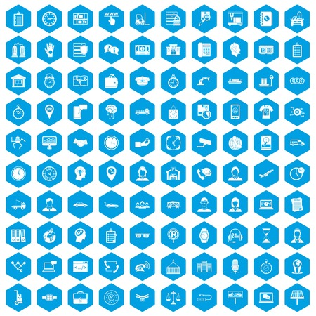 100 working hours icons set blue Illustration