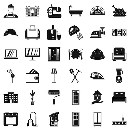 sewing machines: Indoor icons set, simple style Illustration
