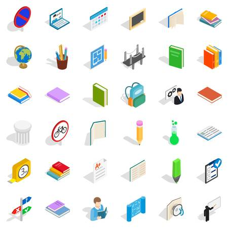 College book icons set, isometric style