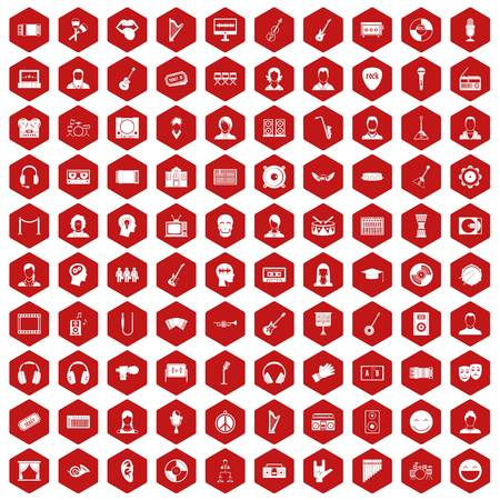 100 audience icons hexagon red Illustration