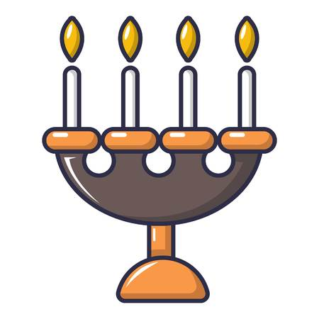 Candlelight candlestick icon, cartoon style Illustration