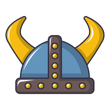 Swedish viking helmet icon, cartoon style Illustration