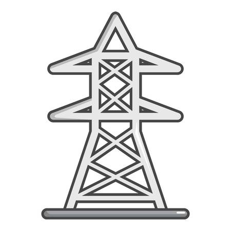 Electric tower icon, cartoon style