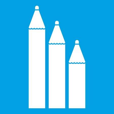 Three pencils icon white
