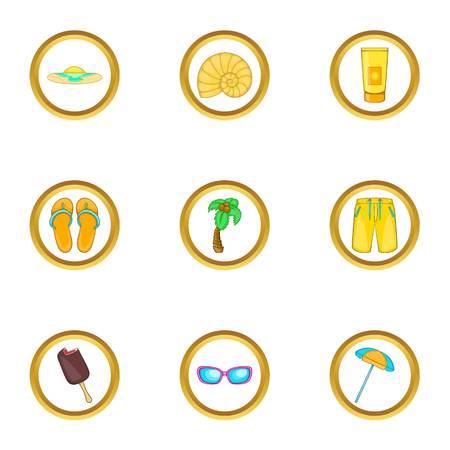 Summer vacation icons set, cartoon style