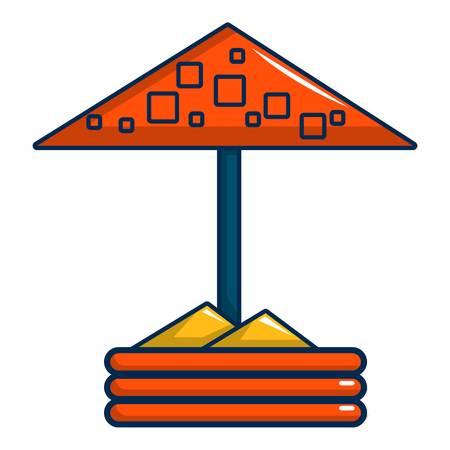 Sandbox with red dotted umbrella icon Illustration