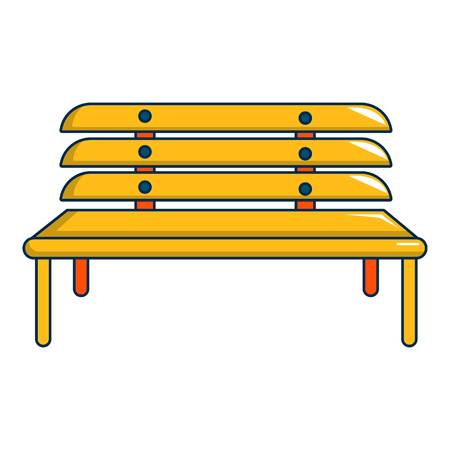 Wooden bench icon, cartoon style
