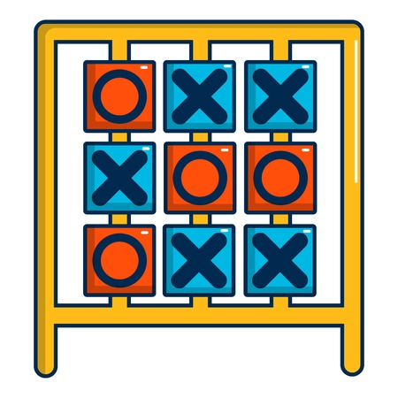 Tic tac toe game icon, cartoon style