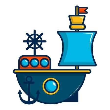 Toy sailing ship icon, cartoon style Illustration