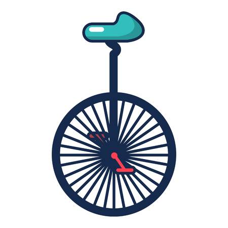Circus unicycle one wheel bicycle icon