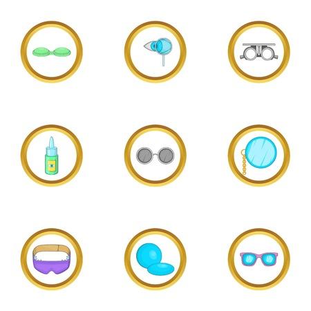 Goggles equipment icons set, cartoon style Illustration