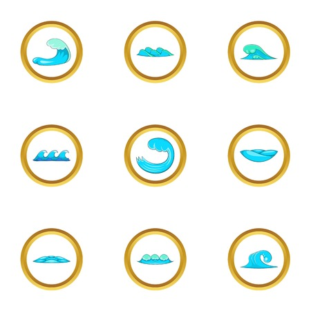 Water elements icons set, cartoon style