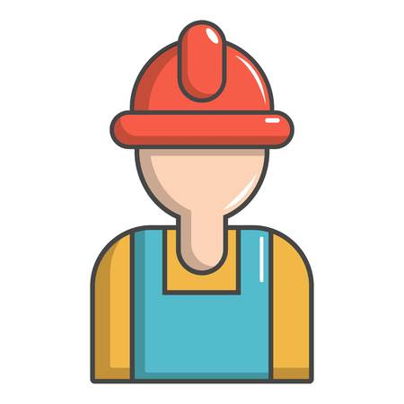 Construction worker icon, cartoon style