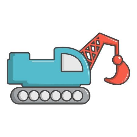 Crawler excavator truck icon, cartoon style