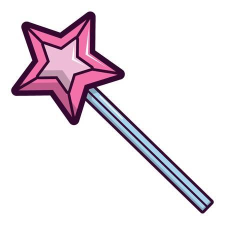 Magic wand star icon, cartoon style Illustration