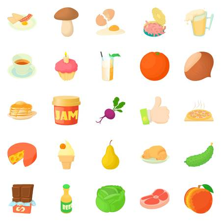 Afternoon snack icons set. Cartoon set of 25 afternoon snack vector icons for web isolated on white background